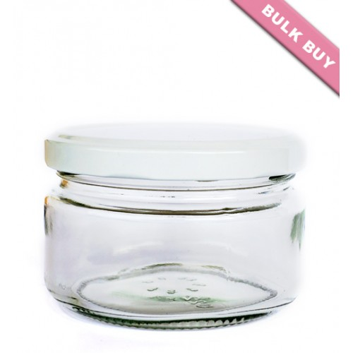 12 x 228ml Glass Jar - Round (Wide)