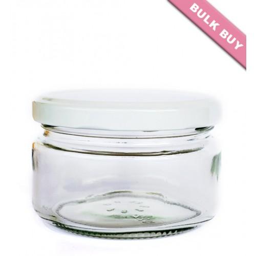 12 x 228ml Glass Jar - Round (Wide)